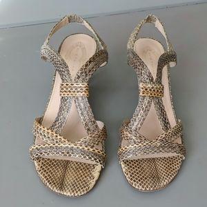 ELIE TAHARI Snake Leather SANDAL low heel